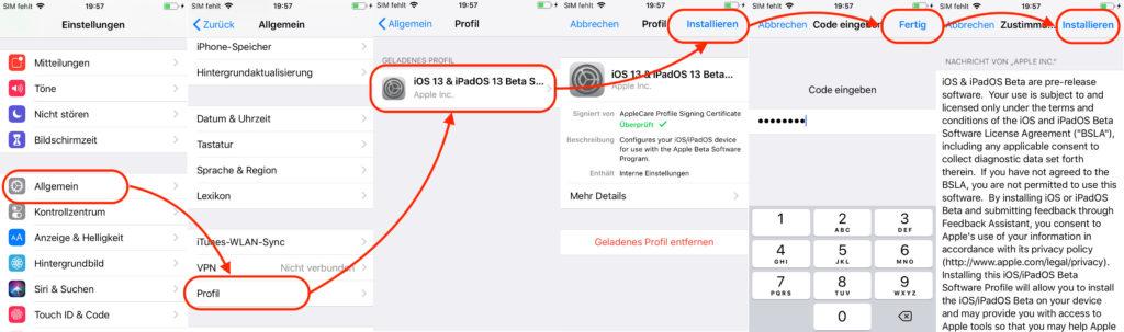 iOS Profil installieren