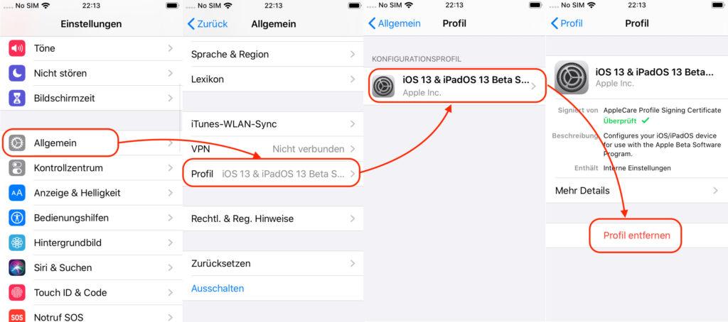 iOS: Public Beta Teilnahme beenden