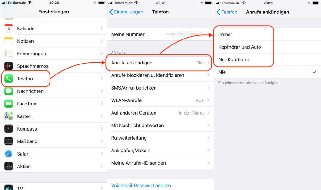 iPhone Anrufe mit Siri ankündigen