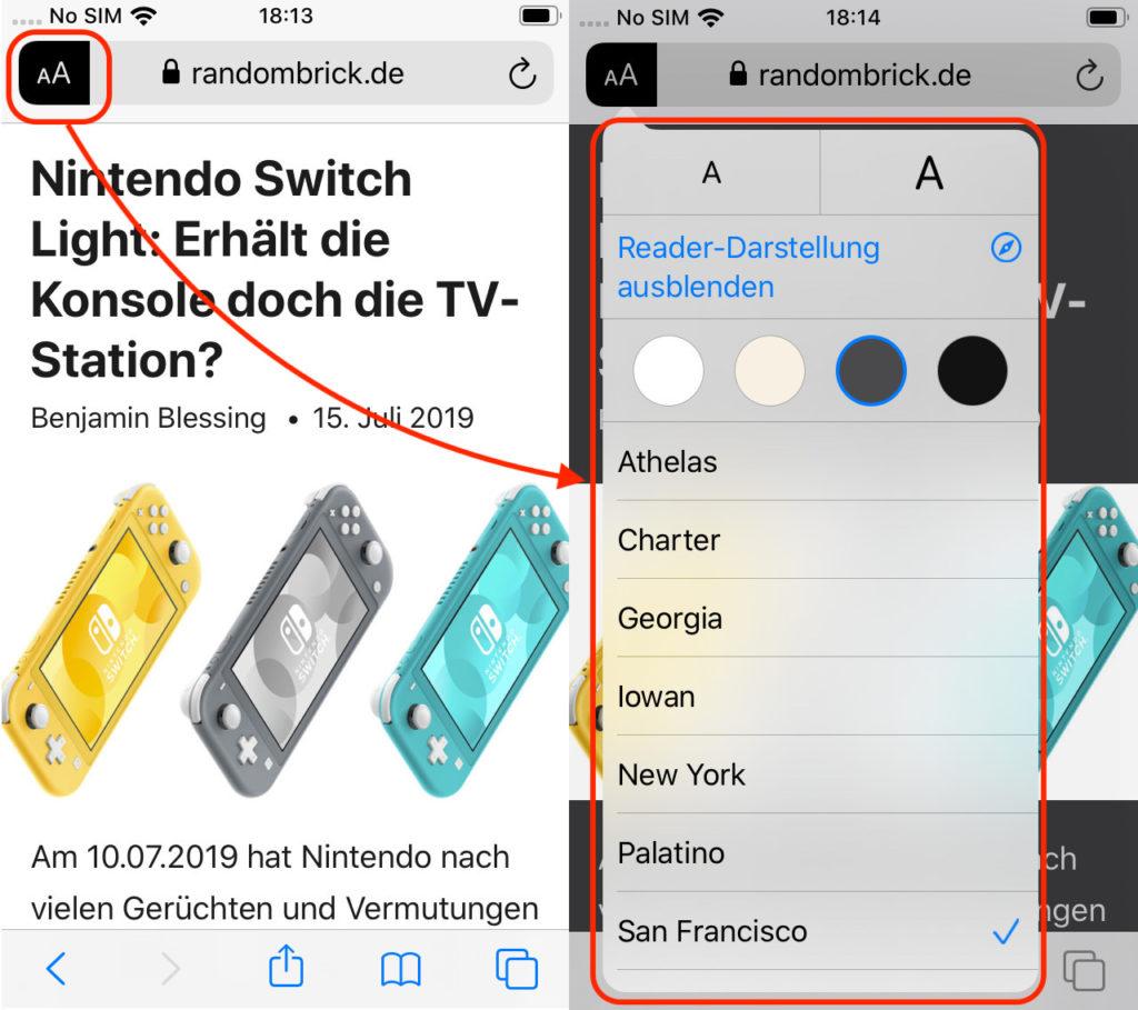 iPhone Reader Anzeige einstellen