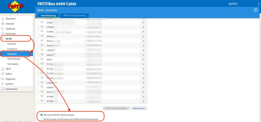 FritzBox MAC-Adressfilter Whitelist