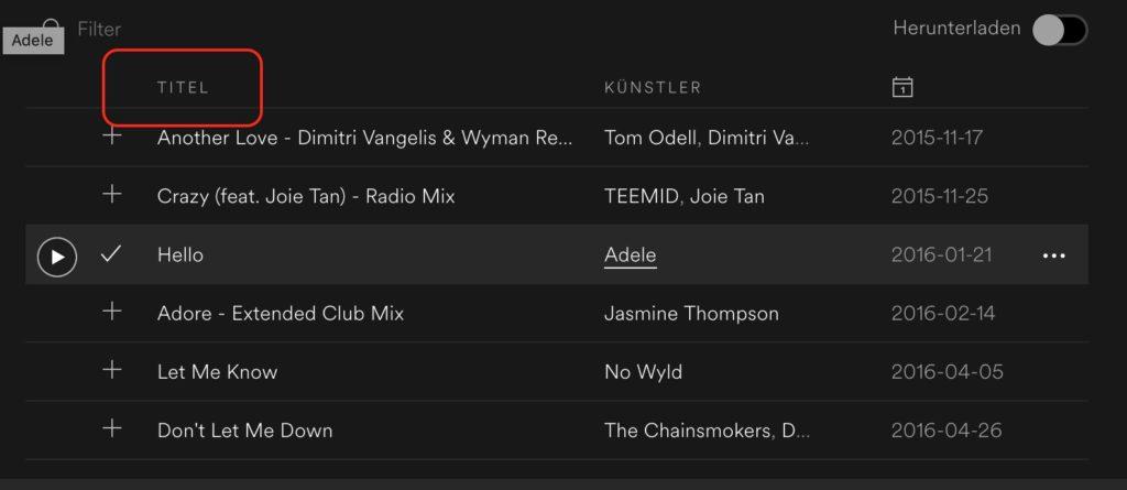 Spotify Sortierung der Playlist geändert?