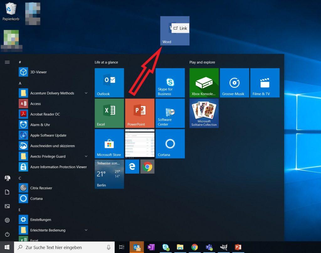 Windows 10 Desktop Verknüpfung