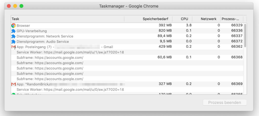 Google Chrome Taskmanager