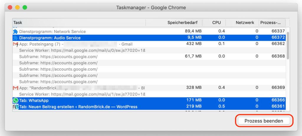 Google Chrome Taskmanager Prozesse beenden
