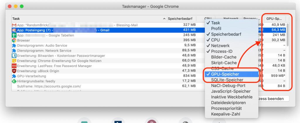 Google Chrome Taskmanager anpassen