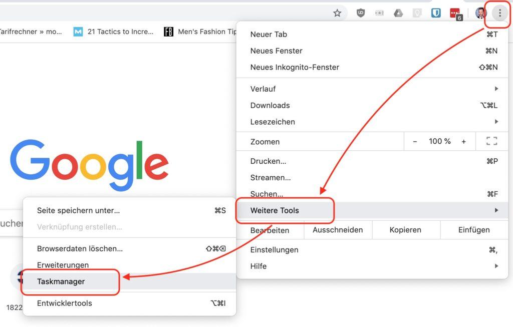 Google Chrome Taskmanager verwenden