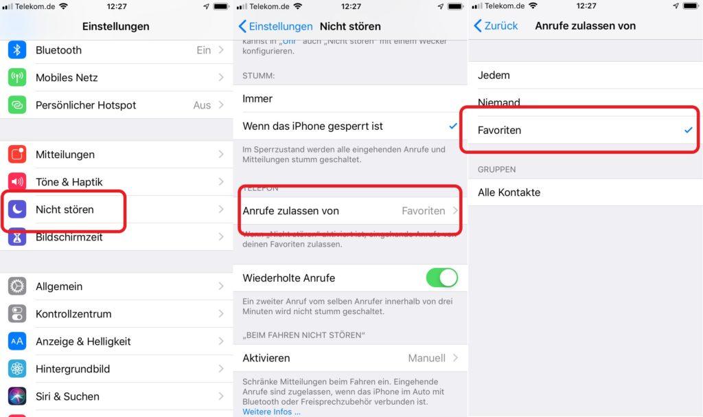 iPhone nicht stören Favoriten zulassen