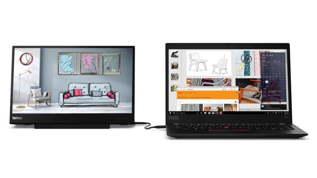 Lenovo ThinkVision M14 mit Notebook