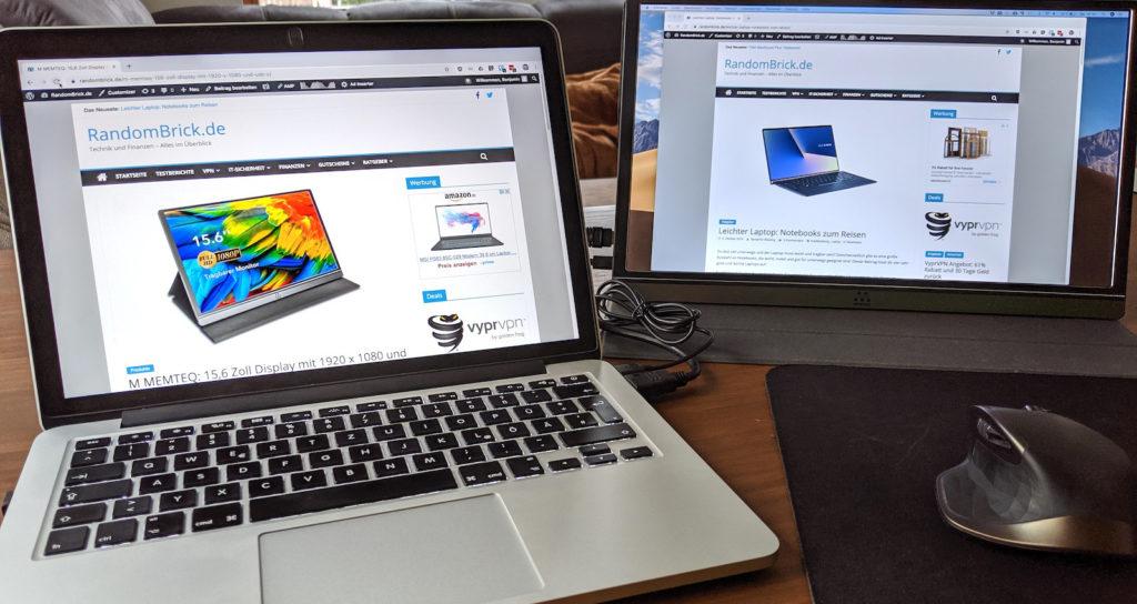 M MEMTEQ 15,6 Zoll verbunden mit einem MacBook Pro