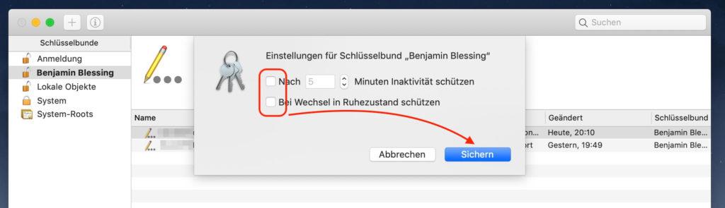 Mac Einstellungen für Schlüsselbund ändern