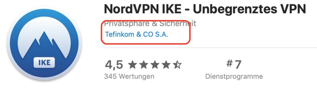 NordVPN im Apple App Store