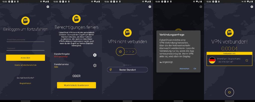 CyberGhost für Android einrichten