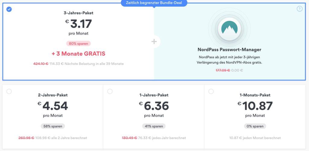 NordVPN Webseite auswählen