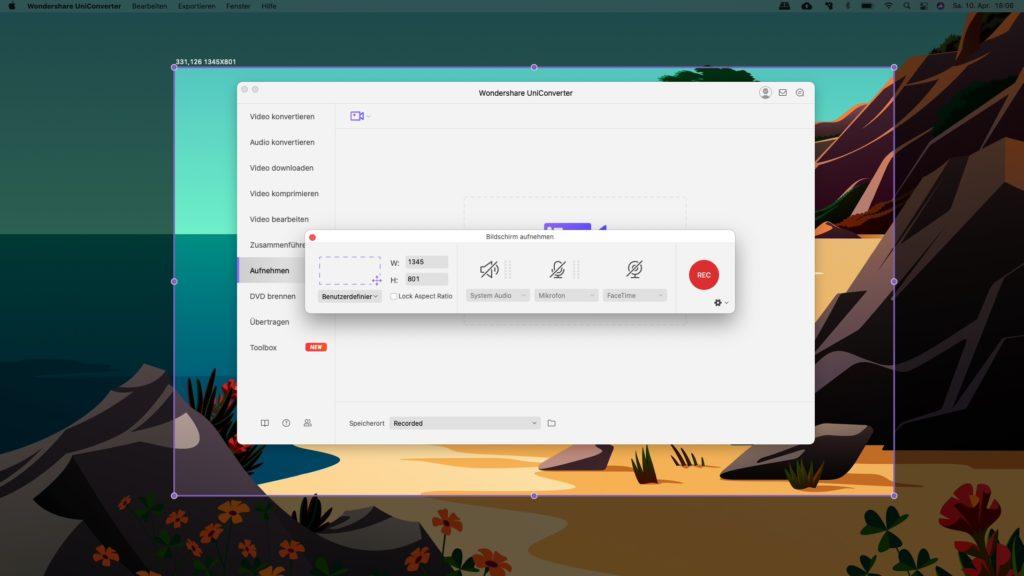 Wondershare UniConverter Bildschirm aufnehmen_3