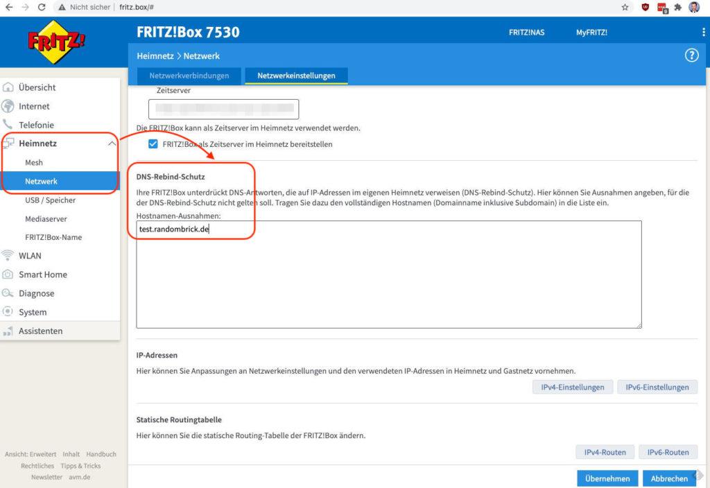 Fritzbox DNS-Rebind-Schutz